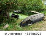 boat on a channel in danube... | Shutterstock . vector #488486023