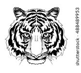 black and white tiger head... | Shutterstock .eps vector #488489953