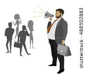 fat businessman with a... | Shutterstock .eps vector #488502883