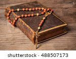 holly bible in leather cover... | Shutterstock . vector #488507173