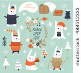 christmas set with cute bunnies ... | Shutterstock .eps vector #488512333