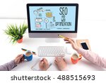 internet seo and web... | Shutterstock . vector #488515693