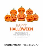 happy halloween poster party... | Shutterstock .eps vector #488519077