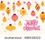 festive christmas greeting card ... | Shutterstock .eps vector #488528323
