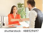 happy employee and boss... | Shutterstock . vector #488529697