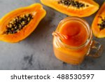 papaya smoothie  selective... | Shutterstock . vector #488530597