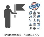 commander with flag pictograph... | Shutterstock . vector #488536777