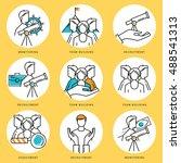 stroke line icons set for job... | Shutterstock .eps vector #488541313