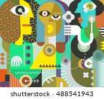 two men and a beautiful woman... | Shutterstock .eps vector #488541943