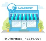 facade laundry. signboard with... | Shutterstock .eps vector #488547097