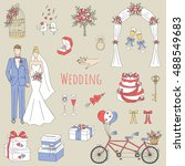 vector set of wedding icons... | Shutterstock .eps vector #488549683