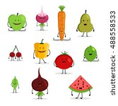 collection of cartoon fruit and ... | Shutterstock .eps vector #488558533