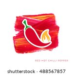 red hot chilli pepper label... | Shutterstock .eps vector #488567857