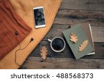 cup of tea with old book ... | Shutterstock . vector #488568373