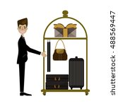 hotel bellboy carrying the... | Shutterstock .eps vector #488569447