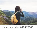 tourist traveler photographer... | Shutterstock . vector #488569543