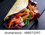 vegetarian tortillas taco wrap...   Shutterstock . vector #488572597