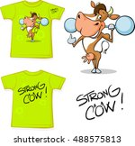 shirt with strong cow   vector... | Shutterstock .eps vector #488575813