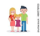 young parents flat vector... | Shutterstock .eps vector #488578903