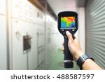 technician use thermal imaging... | Shutterstock . vector #488587597