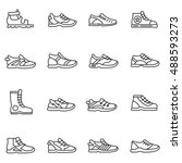 footwear icons set.sandals ... | Shutterstock .eps vector #488593273