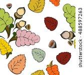 seamless autumn pattern. the... | Shutterstock .eps vector #488597263