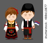serbs in national dress with a... | Shutterstock .eps vector #488613877