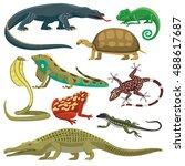 reptile and amphibian lizard ... | Shutterstock .eps vector #488617687