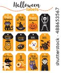 set halloween printable cards... | Shutterstock .eps vector #488653567