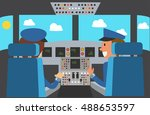 flight deck of modern aircraft... | Shutterstock .eps vector #488653597