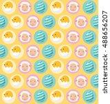 happy easter pattern    vector... | Shutterstock .eps vector #488656207