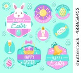 happy easter elements  badge... | Shutterstock .eps vector #488656453