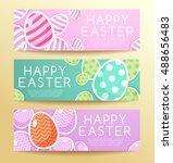 happy easter elements   banner... | Shutterstock .eps vector #488656483