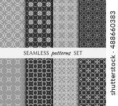 set of eight seamless geometric ... | Shutterstock .eps vector #488660383