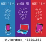 vector banner with mobile phone.... | Shutterstock .eps vector #488661853