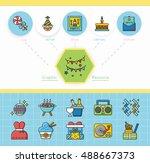 icon set party vector   Shutterstock .eps vector #488667373