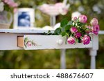 pink roses in the drawer of an