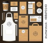 coffee house corporate identity ... | Shutterstock .eps vector #488693143
