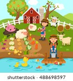 agricultural production rural... | Shutterstock .eps vector #488698597
