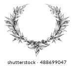 laurel wreath vintage Baroque  frame border monogram floral heraldic shield ornament leaf scroll engraved retro flower pattern decorative design tattoo black and white vector