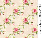 seamless floral pattern with... | Shutterstock .eps vector #488699233