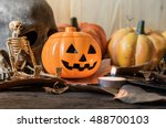vintage tone image of halloween ... | Shutterstock . vector #488700103