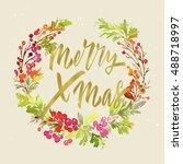 christmas card. watercolor... | Shutterstock . vector #488718997
