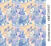blue watercolour flowers.... | Shutterstock . vector #488719537