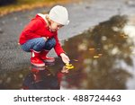 happy child girl playing with... | Shutterstock . vector #488724463