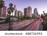 downtown los angeles at sunset... | Shutterstock . vector #488726593
