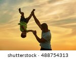 happy family. father and son... | Shutterstock . vector #488754313