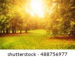 autumn sunny park with orange... | Shutterstock . vector #488756977