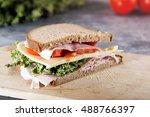 fresh sandwich with ham tomato... | Shutterstock . vector #488766397