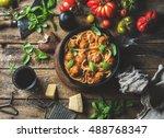 italian pasta spaghetti with...   Shutterstock . vector #488768347